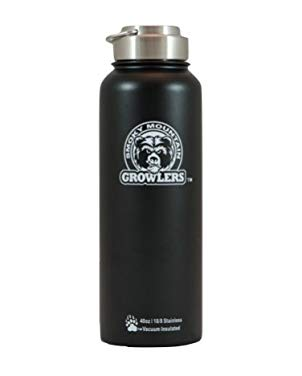 Smoky Mountain Growlers Stainless Steel Water Bottle Growler All-in-One 40 ounce (Black)