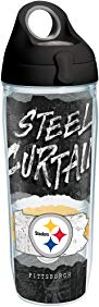 Tervis 1251765 NFL Pittsburgh Steelers NFL Statement Tumbler with Wrap and Black with Gray Lid 24oz Water Bottle, Clear
