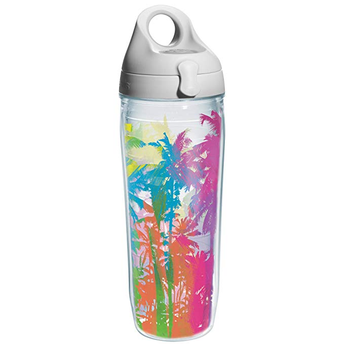 Tervis Palm Tree Wrap and Water Bottle with Grey Lid, 24-Ounce, Beverage
