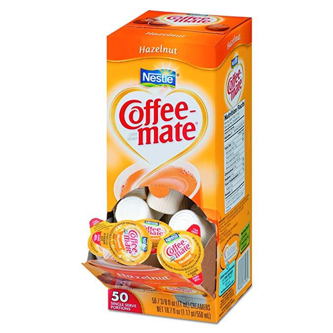 Coffee-mate 35180BX Hazelnut Creamer, 0.375oz (Box of 50)