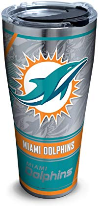Tervis 1266661 NFL Miami Dolphins Edge Stainless Steel Tumbler with Clear and Black Hammer Lid 30oz, Silver