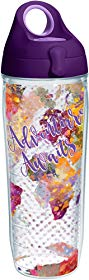 Tervis 1250481 Adventure Awaits Tumbler with Wrap and Purple Lid 24oz Water Bottle, Clear