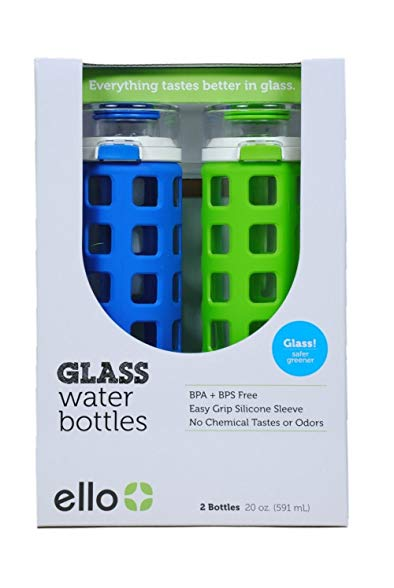 2 pk Ello Safe Clean Glass Water Bottles 20 oz each - Leak Proof with Easy Grip