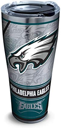 Tervis 1266675 NFL Philadelphia Eagles Edge Stainless Steel Tumbler with Clear and Black Hammer Lid 30oz, Silver